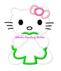Hello Kitty Holding Four Leaf Clover