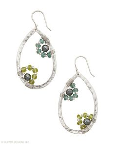 These teardrop Sterling Silver Earrings bloom with an abundance of Hematite, Peridot and Apatite.