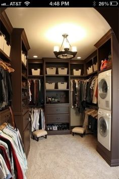 Washer & dryer in master closet just makes sense!!!!!