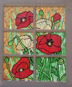 Glass on Glass Mosaic in Vintage Window - Poppy Splendor Collection - red and yellow