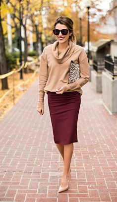 a fall outfit perfect for the office camel and maroon