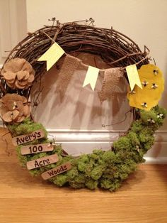 Winnie the Pooh inspired wreath for a Winnie the Pooh themed party!