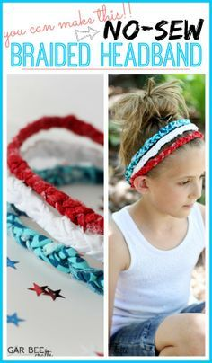 Red White Blue Braided Headbands - no sew! - Sugar Bee Crafts Red White Blue Braided Headbands - no sew! Sewing Headbands, Braided Headbands, Diy Headband, Cloth Headbands, How To Make Headbands, Headband Tutorial, Bee Crafts, Crafts For Kids, July Crafts