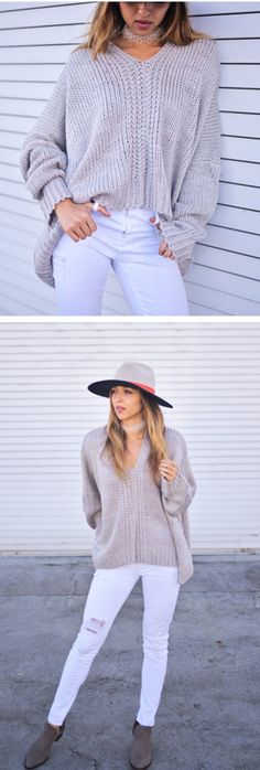 Rules to abide by when wearing this V-neck oversized sweater in grey: Sit back, relax and look gorgeous! Knit Time to Relax Oversized Sweater featured by cuppajyo Blog