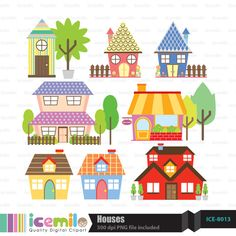 Houses Digital Clipart by IcemiloClipart on Etsy, $4.50
