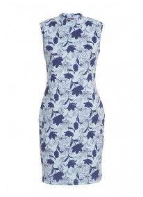 Turtleneck floral dress Blue