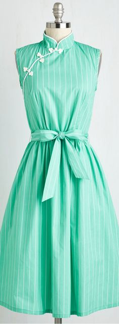 mint mandarin collar dress
