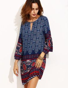 Three quarter sleeve Boho  mini dress price $26.67  This is a loose style dress, which means it can be easily adjusted to any shape or sizeIt features an o-neck with a small v-neckline open complimented by gorgeous flowy sleeves. Style yours with a pair of wedges.