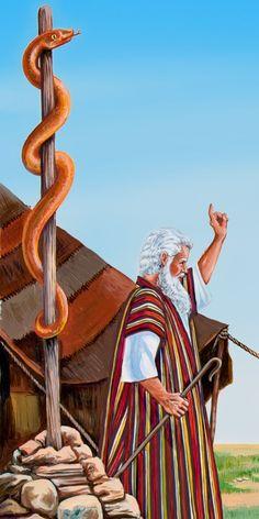 Moses and the copper serpent - The Book Bible Stories! Bible Pictures, Jesus Pictures, Bible Art, Bible Scriptures, Arte Judaica, La Sainte Bible, Image Jesus, Christian Artwork, Bible Illustrations