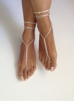 READY TO SHIP    Its easy and beautiful summer jewelry for the feet. They look very elegant on your feet and high light the beauty of your ankles. In