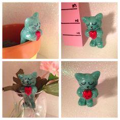 Handmade gift miniature animal polymer clay kitty cat totem sculpture charm caketopper totem pocket pet figure figurine decoration ornament by KatzenKlaa on Etsy https://www.etsy.com/listing/229940611/handmade-gift-miniature-animal-polymer