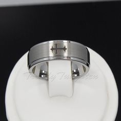 Best Seller Men's Tungsten Ring 8 mm Wedding Band Brusted with One Cross Sz 7-13 #Band