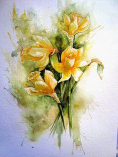 Watercolour Florals: Daffodils and Alstroemeria