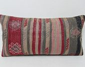 red decorative pillow ethnic pillow cover red kilim pillow striped pillow sham red lumbar pillow cover southwest pillow urban textile 28500
