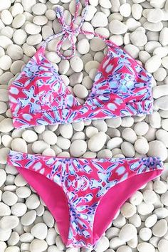 Cupshe Women Pink Halter Swimsuit Brazilian Bikini Set Beach Bathing Suit  Push Up Swimwear Biquini Swimwear 26389c9e4