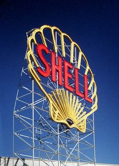 Vintage Neon Shell Sign - Old Gas Station Sign