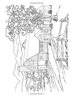 Farm scenes coloring page | Farm Life - Farm barn and silo ...