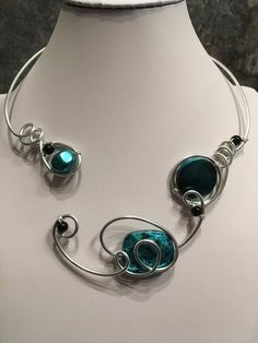 Teal open front necklace, wire wrapped necklace, teal black necklace, teal black choker, teal contemporary necklace, aluminium wire necklace Teal Necklace, Wire Necklace, Wire Wrapped Necklace, Collar Necklace, Teal Jewelry, Funky Jewelry, Wire Jewelry, Wedding Jewelry, Bridesmaid Jewelry