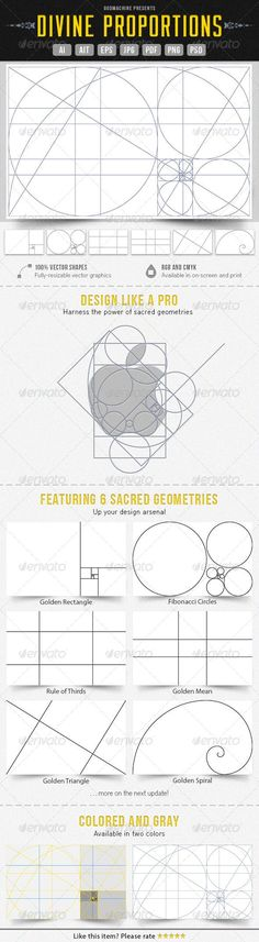 Divine Proportions: the six sacred geometries of graphic design, applicable to logos, graphics, websites, and more. (Inexpensive Adobe templates available for purchase. Graphisches Design, Tool Design, Design Process, Design Elements, Logo Process, Grid Design, Webdesign Layouts, Character Design Challenge, Divine Proportion