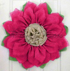 "Extra Large Burlap Sunflower Wreath, 30"" Fuchsia Sunflower, Spring Wreath, Summer Wreath, Customizable Wreath, Trendy Pink Sunflower Wreath - pinned by pin4etsy.com"