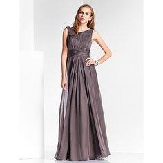 Sheath/Column Bateau Floor-length Chiffon Evening Dress – USD $ 179.99