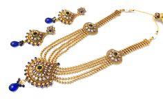 5 Layered Blue Bridal Set With Drop Earrings  #CraftShopsIndia #JewellerySets #BridalJewellery