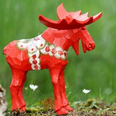 Dala (is short for Dalarna - the town where they are known for making these wooden figures) and Älg (Älg = Moose)