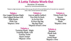 A Lotta Tabata Workout. Really want to work this into my exercise schedule (taking out high impact jumping of course)