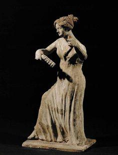 Dancing girl with serpents. Terracotta figurine quarter BCE) from Aigina, Greece, Tanagrian influence. Height 21 cm CA 800 Ancient Music, Ancient Art, Greece Culture, Ancient Goddesses, Envelope Art, Terracota, Greek Art, Greek Gods, Girl Dancing