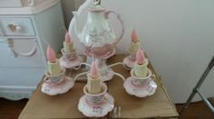 Shabby Chic  tea set hanging chandelier lamp by lindagallo2, $450.00