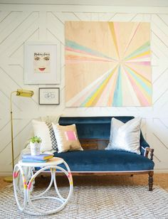 Removable Geometric Wall Treatment  Maskcara Office Makeover vintagerevivals.com Well hello an idea for my activity/dining room