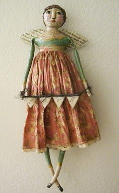 Folk Art Cloth and Clay Doll  Angel Face by GramsGrungyPrims
