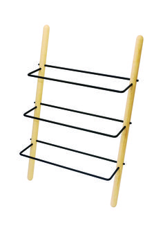 Stick is a shoe rack made of 35 mm oil treated solid ash sticks on the sides and the 3 shelves of 10 mm steel pipes.