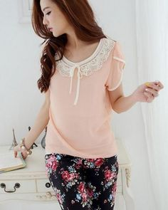 Apricot Lovely Korean Fashionable Short Sleeves Blouse with Round Lace Collar Details 1