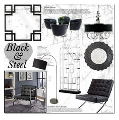 """Black & Steel"" by arethaman ❤ liked on Polyvore featuring interior, interiors, interior design, home, home decor, interior decorating, Uttermost, Eichholtz, Universal Lighting and Decor and Dot & Bo"