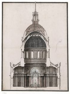 Section of the Dome des Invalides in 1691, Paris