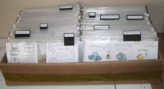 using the zippered pockets to store clear stamps; very similar to placing the CD sleeves in a bin