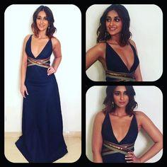 Ileana D'Cruz in a Blue Monisha Jaising Dress