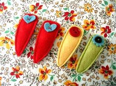 Felted Hair Clips