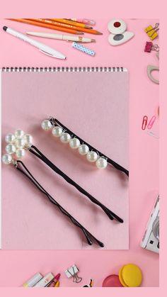 Diy Hair Accessories, Hair Ornaments, Hair Piece, Pearl Jewelry, Diy Fashion, Bobby Pins, Crafts, Beauty, Bead
