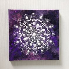 Original Dotart White on Purple Mandala Painting on Canvas, 20x20cm Painting…