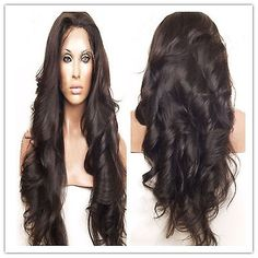 100% indian remy human hair Long Natural Wave full lace wigs/lace ...