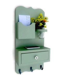 Shelf with Drawer Mail Holder -Mason Jar - Key Hooks - Key Rack
