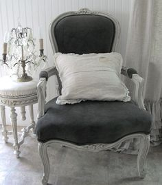 Sublime grey velvet Louis style chair  - would love to have this any where in my house.