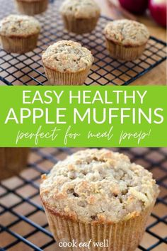 Apple Paleo Muffins are quick and easy to put together. You can bake these apple cinnamon muffins with almond flour on the weekend to stock your freezer or freeze leftovers for grab-and-go breakfasts during the week. via @cookeatpaleo Paleo Recipes Easy, Clean Eating Recipes, Real Food Recipes, Snack Recipes, Nutritious Meals, Healthy Snacks, Almond Flour Muffins, Apple Cinnamon Muffins, Grab And Go Breakfast
