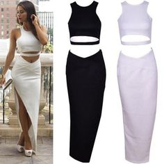 Stylish High Slit Two Piece Party Bodycon Dress | Daisy Dress for Less | Women's Dresses & Accessories