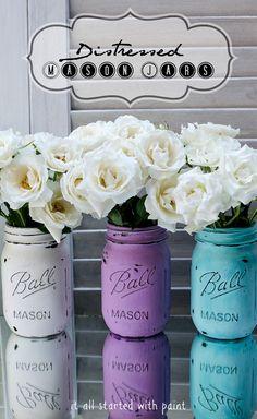 Distressed Mason Jars