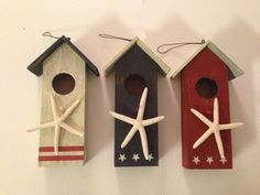 Beach Decor  Americana Decor  Bird House  Set of by KOCapeDesigns, $10.00