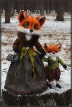 OOAK 'Mother and son' Foxes/ Needle felted head by Artist K. Kolodnytska