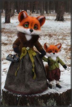 OOAK 'Mother and son' Foxes/ Needle felted head by Artist K. Kolodnytska